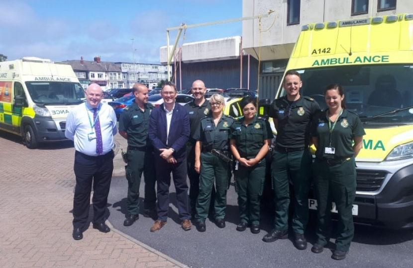 Paul Maynard with ambulance crews