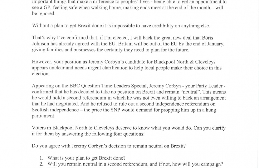 My letter to the local Labour candidate